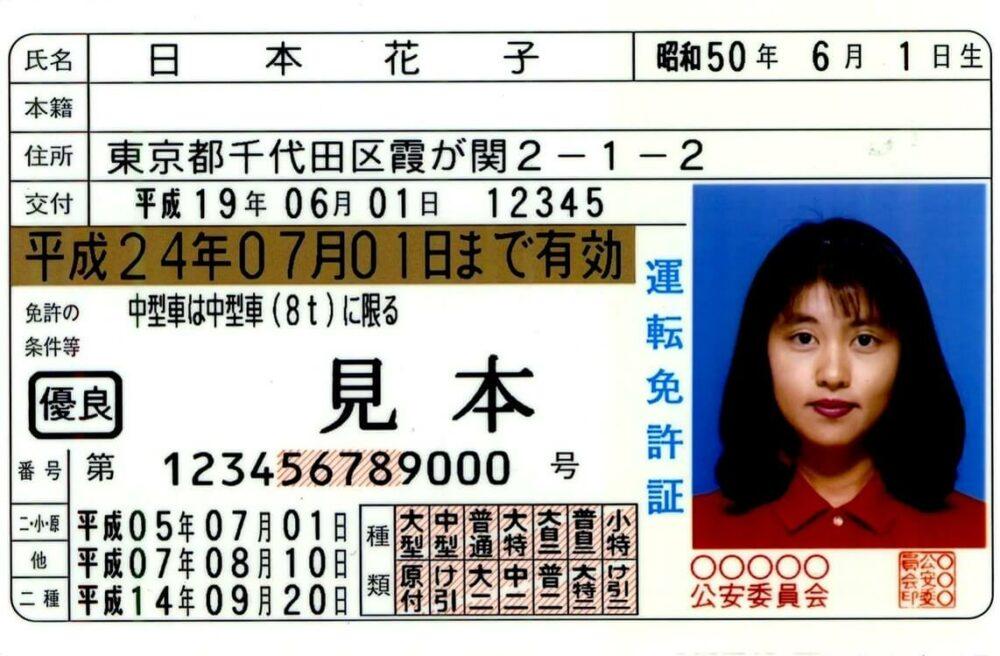 警視庁のウェブサイトに掲載されていた運転免許証のサンプル