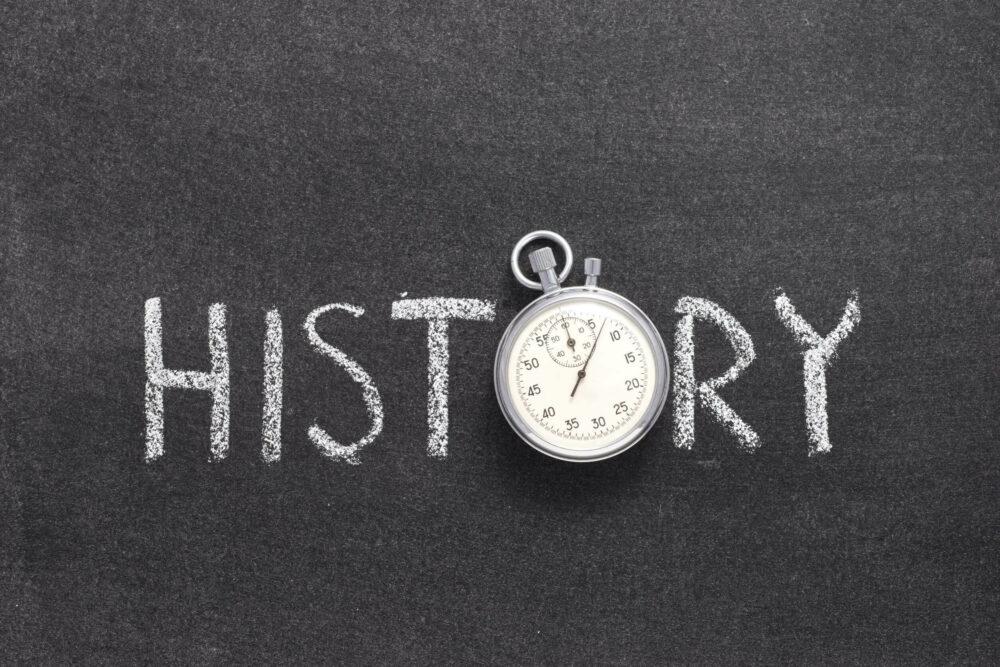 時計と歴史の文字