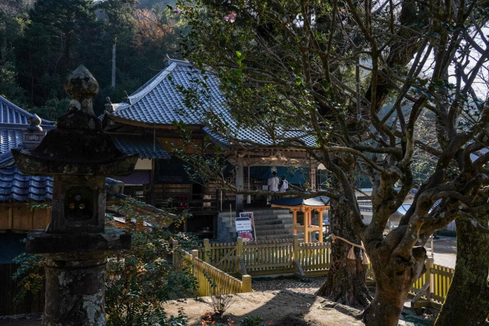 お遍路 第5番札所 大日寺の木に半分隠れた本堂