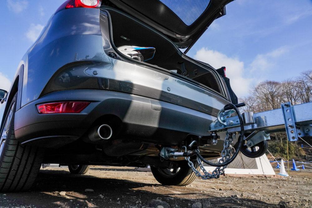 マツダ SUV オフロード試乗会。CX-8の純正ヒッチメンバー。