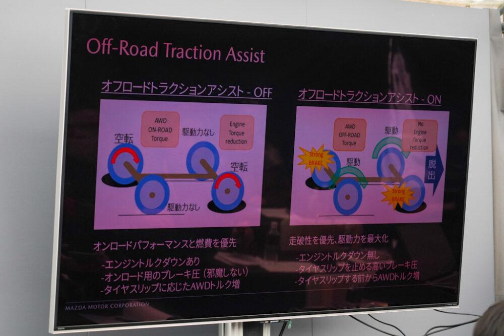 マツダ SUV オフロード試乗会プレゼンスライド。オフロード・トラクション・アシストON・OFFの比較