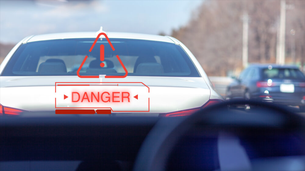 車内から見た警告表示