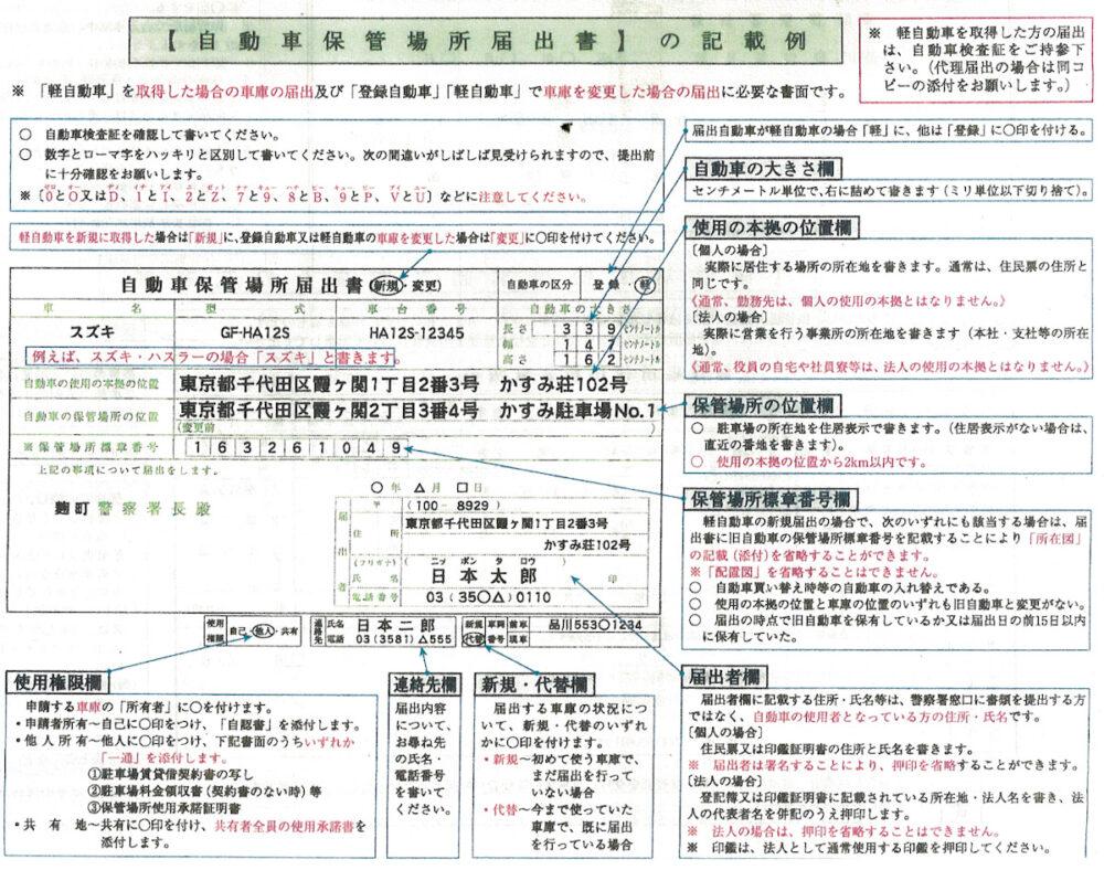 保管場所届出書の記入例