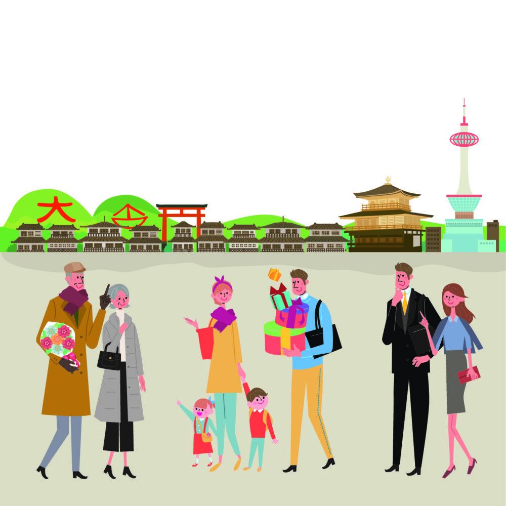 京都の街を歩く人々
