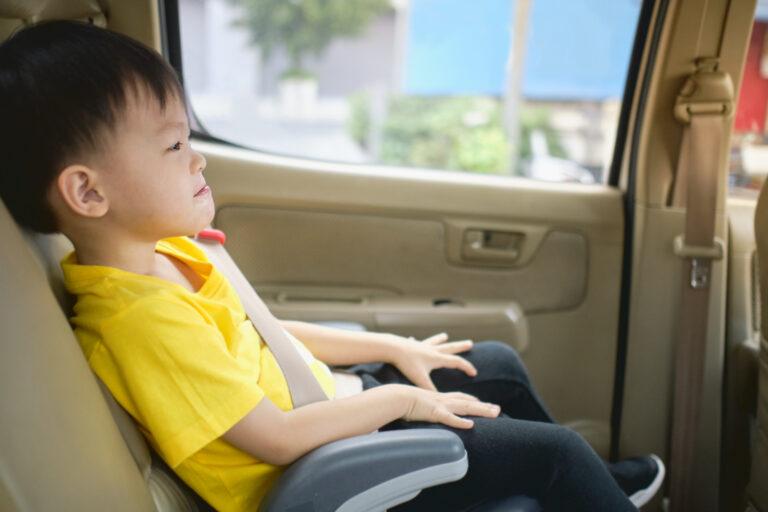 ジュニアシートに乗る少年