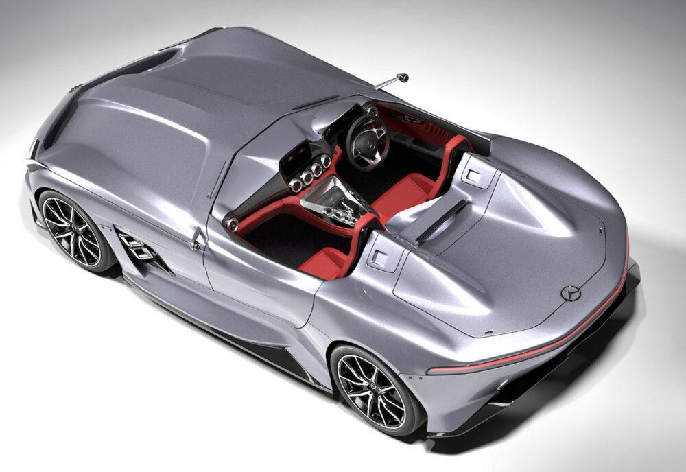 メルセデス・ベンツ SLRマクラーレン復活新型予想CG 後方から俯瞰
