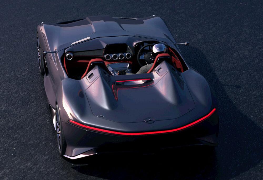 メルセデス・ベンツ SLRマクラーレン復活新型予想CG 真後ろから俯瞰