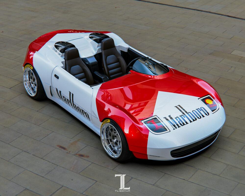 次期新型マツダ・ロードスター「NE型」スピードスター 予想CG 前方斜め上から俯瞰