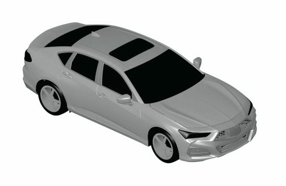 次期新型アキュラ TLX リークされた特許画像 車両右方上から俯瞰