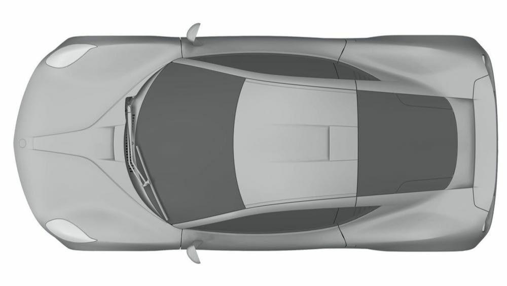 新型ヤマハ 2ドアクーペ EVの流出した特許画像 車体真上から俯瞰