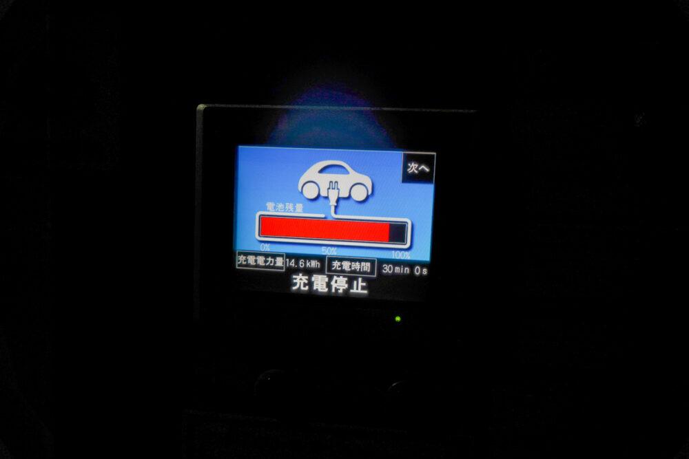 新電元工業製の充電器の充電停止表示