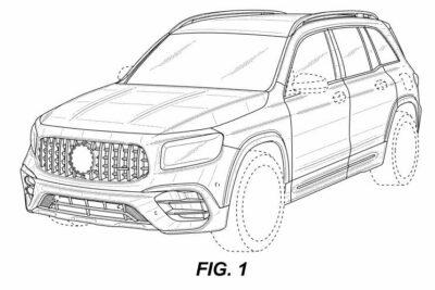 新型メルセデスAMG GLB 45 特許画像が流出!415馬力、0-100km/h加速4.1秒のスペックも