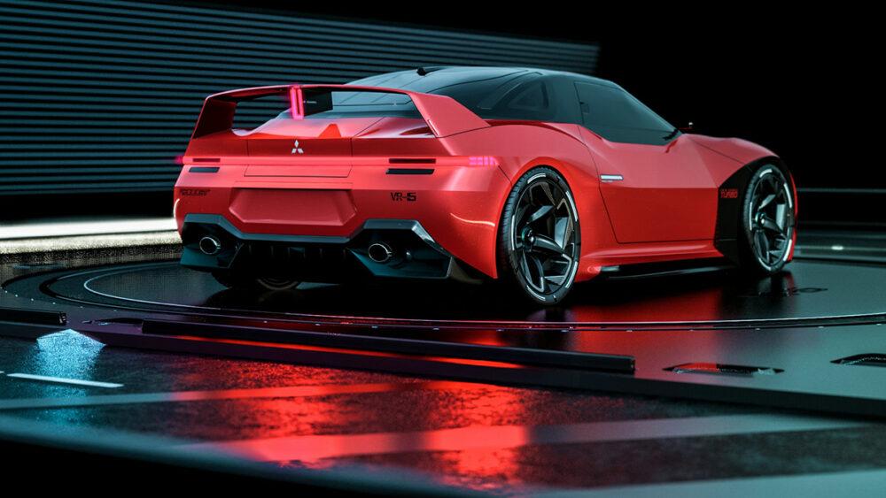 復活新型三菱 4000GT デザイン予想CG 赤 リアサイド