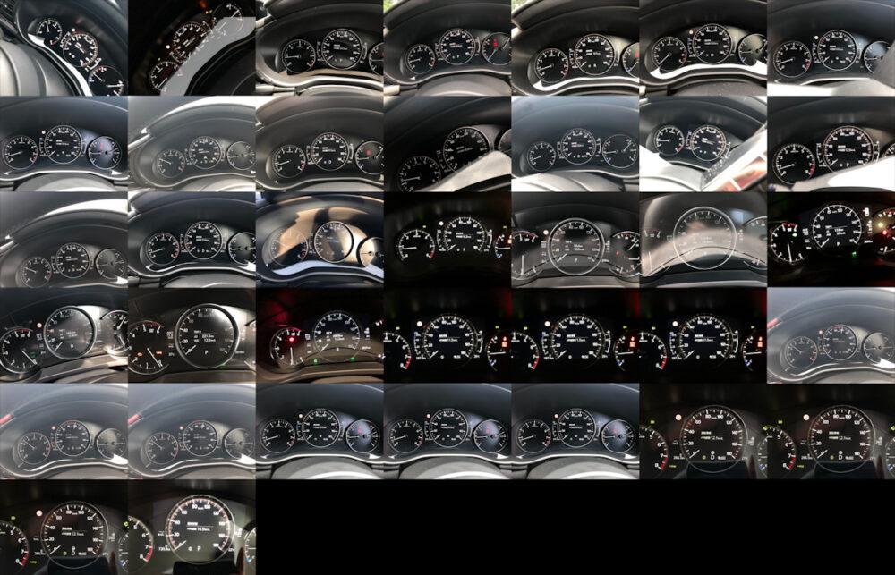 今回のマツダ3 5モデル試乗時に撮り溜めた燃費計メモ撮影