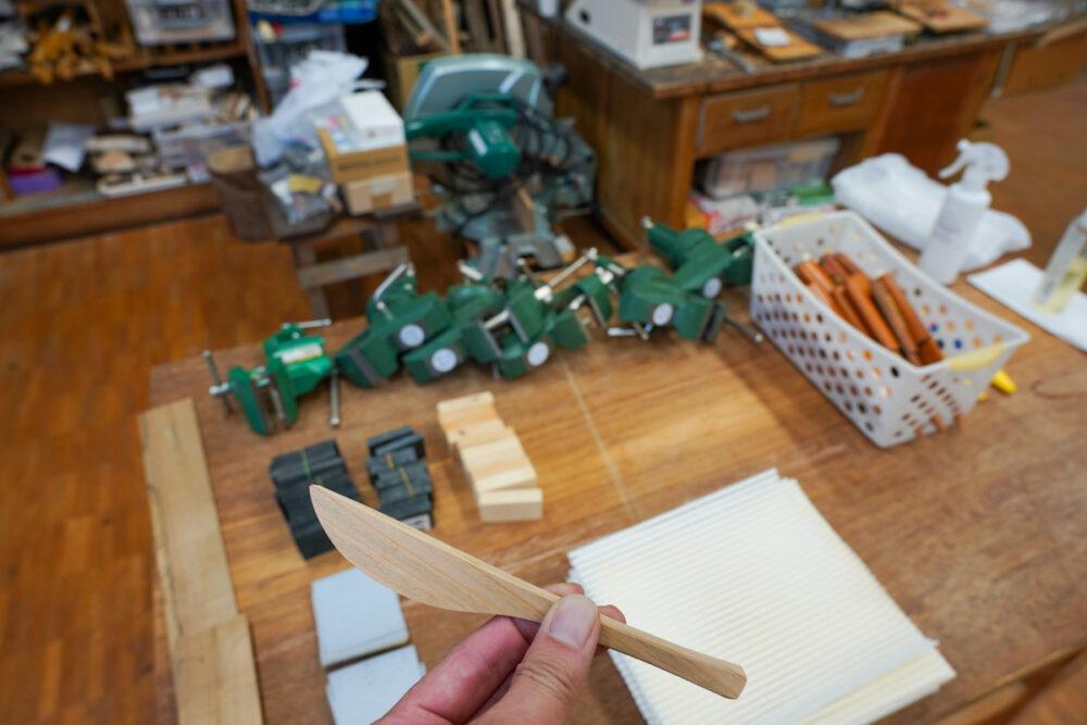 信州木曽ふるさと体験館 バターナイフと作業道具
