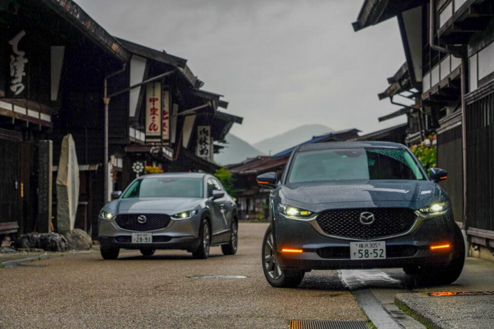奈良井宿で撮影したマツダCX-30 2台