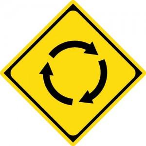 警戒標識「ロータリーあり」