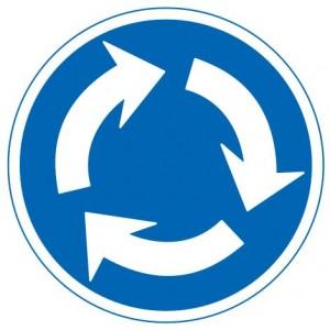 規制標識「環状の交差点における右回り通行」