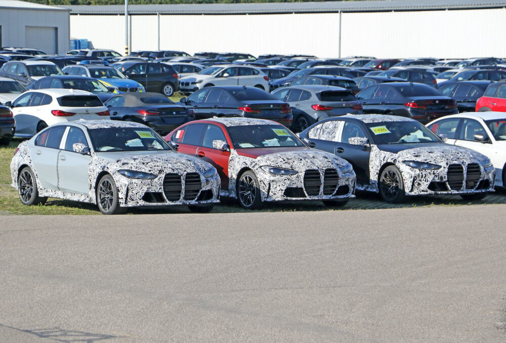 次期新型 BMW M3 プロトタイプ 3台並ぶ フロント