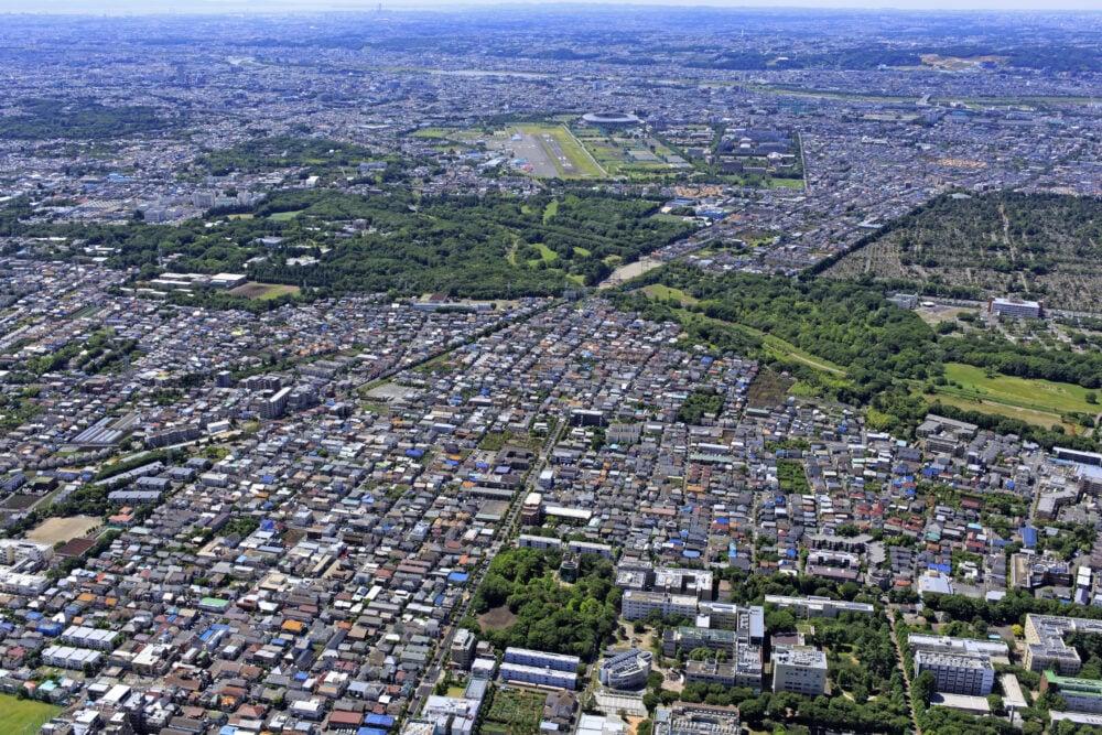 空撮した野川公園