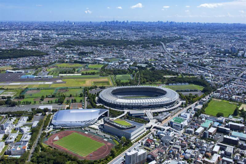 上空から撮影した東京スタジアム周辺