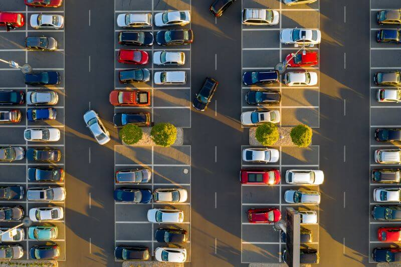 上空から撮影した駐車場