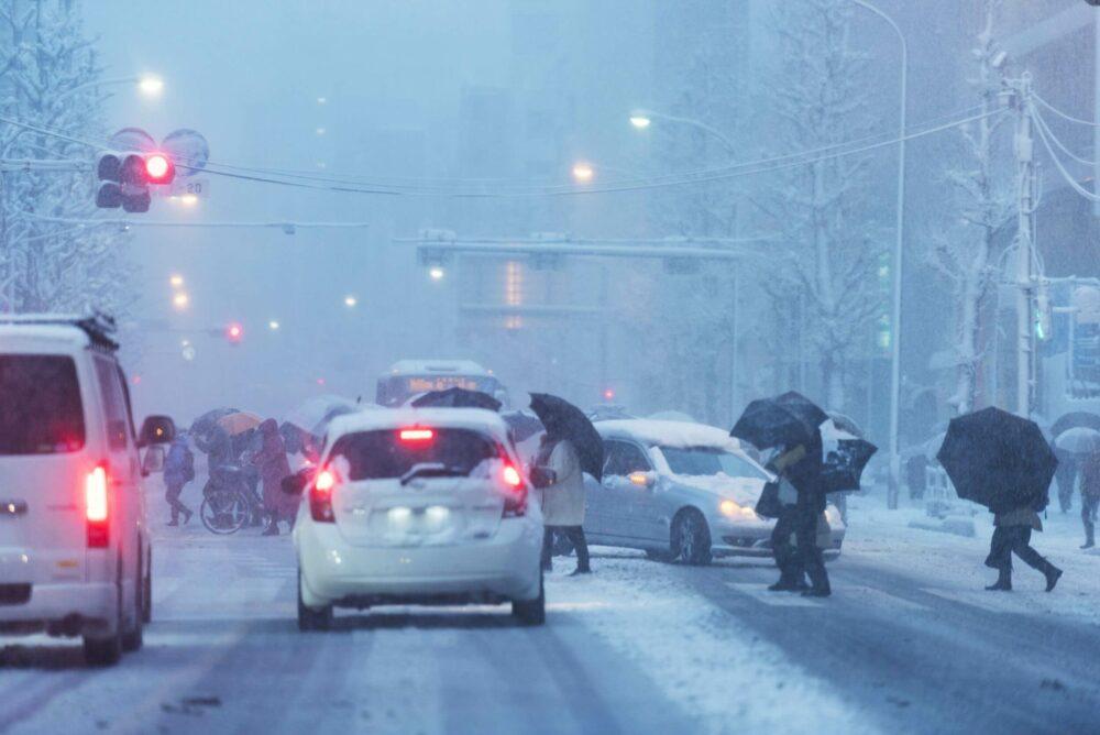 雪道 交差点