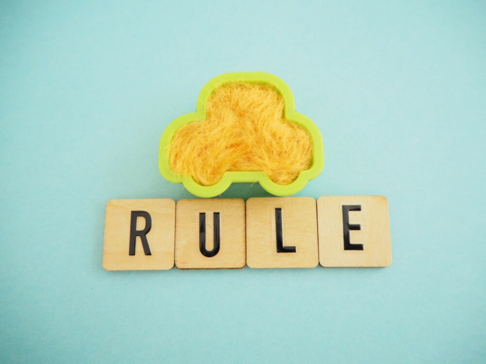 ルールの単語と車のイメージ